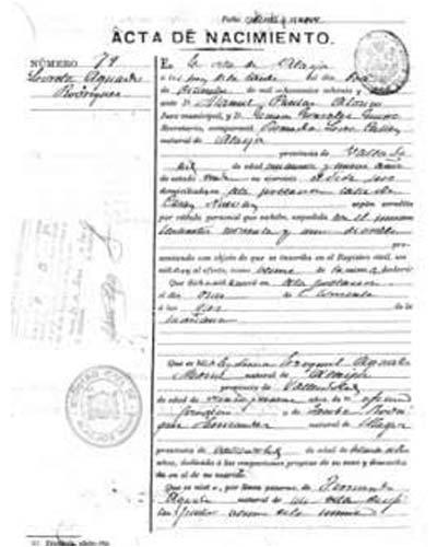 certificado de nacimiento de Cadiz